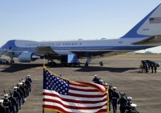 With the flag-draped casket of former President George H.W. Bush aboard at Ellington Field, Special Air Mission 41 prepares to depart, Monday, Dec. 3, 2018, in Houston. (AP Photo/Eric Gay) (AP Photo/Eric Gay)