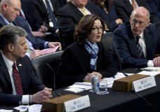 CIA Director Gina Haspel accompanied by FBI Director Christopher Wray and Director of National Intelligence Daniel Coats testifies before the Senate Intelligence Committee on Capitol Hill in Washington Tuesday, Jan. 29, 2019. (AP Photo/Jose Luis Magana)