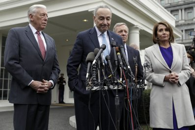 Speaker of the House Nancy Pelosi, D-Calif., speaks to reporters after meeting with President Donald Trump about border security in the Situation Room of the White House, Friday, Jan. 4, 2019, in Washington. From left, Senate Minority Leader Chuck Schumer, D-N.Y., House Majority Leader Steny Hoyer of Md., Pelosi, and Sen. Dick Durbin, D-Ill. (AP Photo/Evan Vucci)