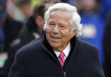 FILE - In this Jan. 20, 2019, file photo, New England Patriots owner Robert Kraft walks on the field before the AFC Championship NFL football game between the Kansas City Chiefs and the New England Patriots, in Kansas City, Mo. Police in Florida have charged New England Patriots owner Robert Kraft with misdemeanor solicitation of prostitution, saying they have videotape of him paying for a sex act inside an illicit massage parlor. Jupiter police told reporters Friday, Feb. 22, 2019, that the 77-year-old Kraft has not been arrested. (AP Photo/Charlie Neibergall, File)