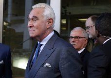 Former campaign adviser for President Donald Trump, Roger Stone, leaves federal court Thursday, Feb. 21, 2019, in Washington. A judge has imposed a full gag order on Trump confidant Roger Stone after he posted a photo on Instagram of the judge with what appeared to be crosshairs of a gun. (AP Photo/Jacquelyn Martin)