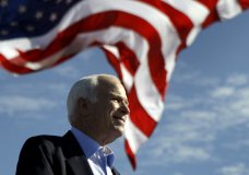 """FILE - In this Nov. 3, 208 file photo, Republican presidential candidate Sen. John McCain, R-Ariz. speaks at a rally outside Raymond James Stadium in Tampa, Fla. President Donald Trump is not backing down from his longstanding criticism of the late Sen. John McCain. Trump declared Tuesday at the White House: """"I was never a fan of John McCain and I never will be."""" Trump drew criticism over the weekend for tweeting insults at McCain, a Vietnam war hero, Arizona senator and 2008 Republican presidential candidate who died last year of brain cancer. (AP Photo/Carolyn Kaster)"""