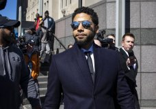 Actor Jussie Smollett leaves the Leighton Criminal Courthouse in Chicago on Tuesday March 26, 2019, after prosecutors dropped all charges against him. Smollett was indicted on 16 felony counts related to making a false report that he was attacked by two men who shouted racial and homophobic slurs. (Ashlee Rezin/Sun-Times/Chicago Sun-Times via AP)