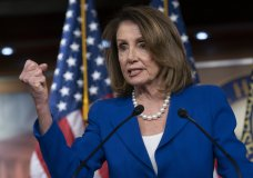 """House Speaker Nancy Pelosi heaps scorn on Attorney General William Barr, saying his letter about special counsel Robert Mueller's report was """"condescending,"""" after Barr concluded there was no evidence that President Donald Trump's campaign """"conspired or coordinated"""" with the Russian government to influence the 2016 election, during a news conference on Capitol Hill in Washington, Thursday, March 28, 2019. Pelosi also defended House Intelligence Committee Chairman Adam Schiff, who faced calls Thursday from Republicans to resign over his comments that there was significant evidence the president and his associates conspired with Russia. (AP Photo/J. Scott Applewhite)"""