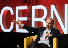 English computer scientist Tim Berners-Lee, best known as the inventor of the World Wide Web, delivers a speech during an event at the CERN in Meyrin near Geneva, Switzerland, March 12, 2019 marking 30 years of World Wide Web. (Fabrice Coffrini/Pool, Keystone via AP)