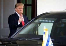 President Donald Trump waves as Israeli Prime Minister Benjamin Netanyahu leaves the White House in Washington, Monday, March 25, 2019. (AP Photo/Manuel Balce Ceneta)