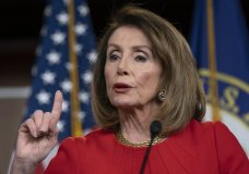 FILE - In this April 4, 2019 file photo, Speaker of the House Nancy Pelosi, D-Calif., talks during a news conference on Capitol Hill in Washington. On the same day that House Speaker Nancy Pelosi urged rank-and-file Democrats to proceed with relative caution after the release of special counsel Robert Mueller's report, Massachusetts Sen. Elizabeth Warren doubled down on her impeachment calls. (AP Photo/J. Scott Applewhite)