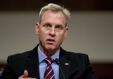 Acting Defense Secretary Patrick Shanahan speaks during a Senate Armed Services Committee hearing on Capitol Hill in Washington , Thursday, April 11, 2019, on the proposed Space Force. (AP Photo/Andrew Harnik)