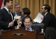 House Judiciary Committee Chair Jerrold Nadler, D-N.Y., surrounded by his staff, passes a resolution to subpoena special counsel Robert Mueller's full report, on Capitol Hill in Washington, Wednesday, April 3, 2019. (AP Photo/J. Scott Applewhite)