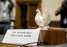 Rep. Steve Cohen, D-Tenn., placed a prop chicken on the witness desk for Attorney General William Barr after he does not appear before a House Judiciary Committee hearing on Capitol Hill in Washington, Thursday, May 2, 2019. (AP Photo/Andrew Harnik)