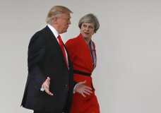 FILE - In this Friday, Jan. 27, 2017 file photo, President Donald Trump and British Prime Minister Theresa May walk along the colonnades of the White House in Washington. During his state visit starting June 3, 2019, Trump will meet with Prime Minister Theresa May as her authority is fading. Trump professes friendship for May, but he has been harshly critical of her handling of the tortured Brexit negotiations, and has buddied up to Boris Johnson, who hopes to follow May to power, and Brexit party leader Nigel Farage, who accuses May of incompetence and betrayal. (AP Photo/Pablo Martinez Monsivais)