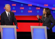 Former Vice President Joe Biden listens as Sen. Kamala Harris, D-Calif., speaks during the second of two Democratic presidential primary debates hosted by CNN Wednesday, July 31, 2019, in the Fox Theatre in Detroit. (AP Photo/Paul Sancya)