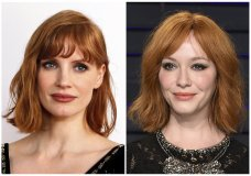 "This combination photo shows actress Jessica Chastain at an exclusive fan event for ""X-MEN: Dark Phoenix"" in London on May 22, 2019, left, and actress Christina Hendricks at the Vanity Fair Oscar Party in Beverly Hills, Calif. on Feb. 24, 2019. Hendricks says she has been mistaken for Oscar nominee Chastain. (AP Photo)"