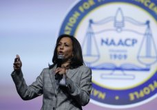 In this July 24, 2019 photo, Democratic presidential candidate, Sen. Kamala Harris, D-Calif., currently one of the two leading black candidates in the contest, speaks during a candidates forum at the 110th NAACP National Convention in Detroit. Democrats will be watching the 2020 presidential campaign to see if they can match the potent multiracial coalition Barack Obama put together in his two presidential election wins. The big question is whether young black voters will turn out without the energizing presence of Obama on the top of the ticket. There is likely to be a similar coalition, but the big question is whether it will have the intensity and numbers of the Obama elections. (AP Photo/Carlos Osorio)