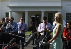 """White House counselor Kellyanne Conway talks with reporters at the White House in Washington, Monday, Aug. 19, 2019. Conway declares that the """"fundamentals"""" of the U.S. economy are strong, citing benchmarks to support her contention. The job market does look solid, yet the factory and housing sectors are struggling and financial markets are sounding the alarm that growth is much shakier than the administration says. (AP Photo/Susan Walsh)"""