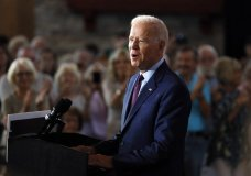 Democratic presidential candidate former Vice President Joe Biden speaks during a community event, Wednesday, Aug. 7, 2019, in Burlington, Iowa. (AP Photo/Charlie Neibergall)