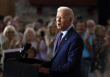 Democratic presidential candidate former Vice President Joe Biden speaks during a community event, Wednesday, Aug. 7, 2019, in Burlington, Iowa. (AP Photo/Charlie Neibergall)