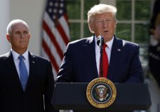 President Donald Trump says he is postponing his weekend trip to Poland and will send Vice President Mike Pence in his place during a event to announce the establishment of the U.S. Space Command in the Rose Garden of the White House in Washington, Thursday, Aug. 29, 2019. (AP Photo/Carolyn Kaster)