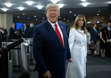U.S. President Donald Trump addresses reporters as he arrives with first lady Melania Trump for the 74th session of the United Nations General Assembly, at U.N. headquarters, Tuesday, Sept. 24, 2019. (AP Photo/Craig Ruttle)