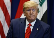 President Donald Trump speaks during a meeting with Iraqi President Barham Salih at the Lotte New York Palace hotel during the United Nations General Assembly, Tuesday, Sept. 24, 2019, in New York. (AP Photo/Evan Vucci)