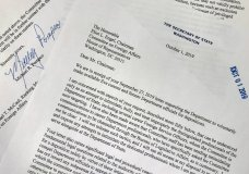 Shown is a letter from Secretary of State Mike Pompeo to Rep. Eliot Engel, D-N.Y., Chairman of the House Foreign Affairs Committee, Tuesday, Oct. 1, 2019 in Washington. (AP Photo/Wayne Partlow)