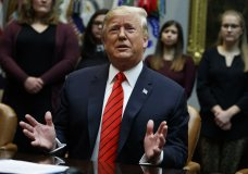 President Donald Trump speaks during an event where he congratulated astronauts Jessica Meir and Christina Koch as they conduct the first all-female spacewalk, from the Roosevelt Room of the White House, Friday, Oct. 18, 2019, in Washington. (AP Photo/Evan Vucci)