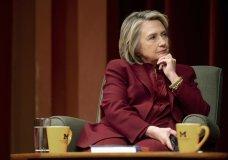 Hillary Clinton listens during a lecture on foreign policy at Rackham Auditorium, Thursday, Oct. 10, 2019 in Ann Arbor, Mich.(Jacob Hamilton/Ann Arbor News via AP)
