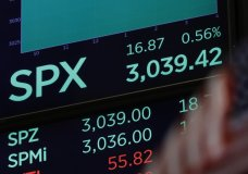 A screen above the trading floor of the New York Stock Exchange shows the closing number for the S&P 500 index, Monday, Oct. 28, 2019. The S&P 500 rose 16 points, or 0.6 %, to 3,039. (AP Photo/Richard Drew)