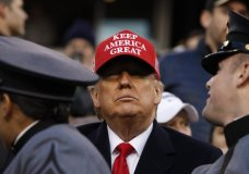 President Donald Trump greets the Army cadets before the start of an NCAA college football game between the Army and the Navy, Saturday, Dec. 14, 2019, in Philadelphia. (AP Photo/Jacquelyn Martin)