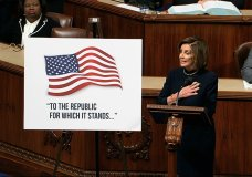 House Speaker Nancy Pelosi of Calif., speaks as the House of Representatives debates the articles of impeachment against President Donald Trump at the Capitol in Washington, Wednesday, Dec. 18, 2019. (House Television via AP)