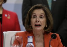 """House Speaker Nancy Pelosi of Calif. speaks during a press conference at the COP25 climate talks summit in Madrid, Monday Dec. 2, 2019. The chair of a two-week climate summit attended by nearly 200 countries warned at its opening Monday that those refusing to adjust to the planet's rising temperatures """"will be on the wrong side of history."""" (AP Photo/Andrea Comas)"""