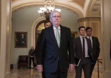 Senate Majority Leader Mitch McConnell, R-Ky., leaves the chamber after criticizing the House Democrats' effort to impeach President Donald Trump, at the Capitol in Washington, Tuesday, Dec. 17, 2019. (AP Photo/J. Scott Applewhite)