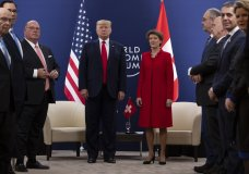 President Donald Trump meets with Swiss President Simonetta Sommaruga at the World Economic Forum, Tuesday, Jan. 21, 2020, in Davos, Switzerland. (AP Photo/ Evan Vucci)