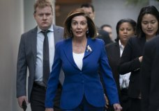 Speaker of the House Nancy Pelosi, D-Calif., arrives to meet with other House Democrats on the morning following Iranian attacks on bases in Iraq housing U.S. troops, at the Capitol in Washington, Wednesday, Jan. 8, 2020. (AP Photo/J. Scott Applewhite)