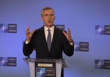 NATO Secretary General Jens Stoltenberg speaks during a media conference after a meeting of The North Atlantic Council at Ambassadorial level at NATO headquarters in Brussels, Monday, Jan. 6, 2020. (AP Photo/Virginia Mayo)