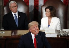 President Donald Trump delivers his State of the Union address to a joint session of Congress on Capitol Hill in Washington, Tuesday, Feb. 4, 2020, as. Vice President Mike Pence and House Speaker Nancy Pelosi of Calif., listen. (AP Photo/Alex Brandon)