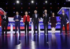 From left, Democratic presidential candidates, former New York City Mayor Mike Bloomberg, former South Bend Mayor Pete Buttigieg, Sen. Elizabeth Warren, D-Mass., Sen. Bernie Sanders, I-Vt., former Vice President Joe Biden, Sen. Amy Klobuchar, D-Minn., and businessman Tom Steyer stand on stage before a Democratic presidential primary debate, Tuesday, Feb. 25, 2020, in Charleston, S.C. (AP Photo/Matt Rourke)