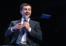 emocratic presidential candidate former South Bend, Ind., Mayor Pete Buttigieg speaks during the New Hampshire Youth Climate and Clean Energy Town Hall, Wednesday, Feb. 5, 2020, in Concord, N.H. (AP Photo/Mary Altaffer)