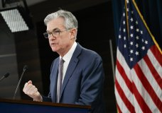 """Federal Reserve Chair Jerome Powell speaks during a news conference, Tuesday, March 3, 2020, to discuss an announcement from the Federal Open Market Committee, in Washington. In a surprise move, the Federal Reserve cut its benchmark interest rate by a sizable half-percentage point in an effort to support the economy in the face of the spreading coronavirus. Chairman Jerome Powell noted that the coronavirus """"poses evolving risks to economic activity."""" (AP Photo/Jacquelyn Martin)"""