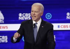 """FILE - In this Feb. 25, 2020, file photo Democratic presidential candidate former Vice President Joe Biden, speaks during a Democratic presidential primary debate at the Gaillard Center in Charleston, S.C., co-hosted by CBS News and the Congressional Black Caucus Institute. The Congressional Black Caucus PAC is endorsing Joe Biden's presidential bid, further cementing his support among the nation's influential black political leadership. Black voters have long anchored the former vice president's White House bid with decisive wins in South Carolina and on Super Tuesday. The chairman of the Congressional Black Caucus political action committee is New York congressman Gregory Meeks, who tells The Associated Press there's """"no question"""" Biden is the right person to lead the country. (AP Photo/Patrick Semansky, File)"""
