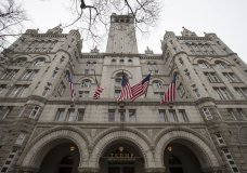 FILE - In this Jan. 4, 2019 file photo, the Trump International Hotel, is shown in Washington. A federal appeals court has revived a lawsuit accusing President Donald Trump of illegally profiting off the presidency through his luxury Washington hotel. The lawsuit brought by the state of Maryland and the District of Columbia claims Trump has violated the emoluments clause of the Constitution by accepting profits through foreign and domestic officials who stay at the Trump International Hotel. (AP Photo/Alex Brandon, File)