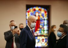 Democratic presidential candidate, former Vice President Joe Biden visits Bethel AME Church in Wilmington, Del., Monday, June 1, 2020, (AP Photo/Andrew Harnik)