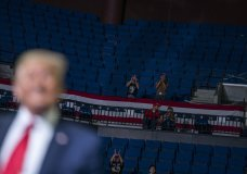 President Donald Trump supporters cheer as Trump speaks during a campaign rally at the BOK Center, Saturday, June 20, 2020, in Tulsa, Okla. (AP Photo/Evan Vucci)