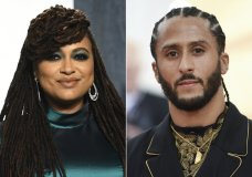 """In this combination photo, filmmaker Ava DuVernay appears at the Vanity Fair Oscar Party in Beverly Hills, Calif. on Feb. 9, 2020, left, and Colin Kaepernick attends The Metropolitan Museum of Art's Costume Institute benefit gala in New York on May 6, 2019. Kaepernick is joining with Emmy-winning filmmaker DuVernay on a Netflix miniseries about the teenage roots of the former NFL player's activism. Neftlix says the limited series, titled """"Colin in Black & White,"""" will examine Kaepernick's high school years. (AP Photo)"""