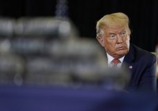 President Donald Trump listens during a briefing on counternarcotics operations at U.S. Southern Command, Friday, July 10, 2020, in Doral, Fla. (AP Photo/Evan Vucci)