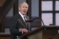 Former President George W. Bush speaks during the funeral service for the late Rep. John Lewis, D-Ga., at Ebenezer Baptist Church in Atlanta, Thursday, July 30, 2020. (Alyssa Pointer/Atlanta Journal-Constitution via AP, Pool)