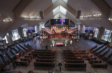 The scene is set for the funeral service for the late Rep. John Lewis, D-Ga., at Ebenezer Baptist Church in Atlanta, Thursday, July 30, 2020. (Alyssa Pointer/Atlanta Journal-Constitution via AP, Pool)