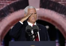 Vice President Mike Pence salutes as he speaks on the third day of the Republican National Convention at Fort McHenry National Monument and Historic Shrine in Baltimore, Wednesday, Aug. 26, 2020. (AP Photo/Andrew Harnik)