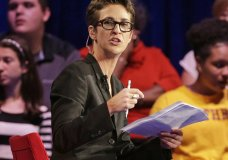 "FILE - In this Friday, Nov. 6, 2015, file photo, MSNBC's Rachel Maddow speaks during a Democratic presidential candidate forum at Winthrop University in Rock Hill, S.C. MSNBC mounted an aggressive on-air fact-checking operation during the Republican national convention, often breaking in to its telecast to question some of the claims made from the stage. Both Maddow and CNN's Daniel Dale aired ""lightning-round"" fact-checks following President Donald Trump's acceptance speech on Thursday night. The frequency of pre-taped speeches enabled MSNBC to call in experts to help with its fact-checking. (AP Photo/Chuck Burton, File)"