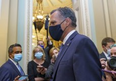 Sen. Mitt Romney, R-Utah, leaves the Senate Chamber following a vote, at the Capitol in Washington, Monday, Sept. 21, 2020. Romney is one of four Republicans who could oppose a vote on a replacement for the late Justice Ruth Bader Ginsburg prior to Election Day. (AP Photo/J. Scott Applewhite)